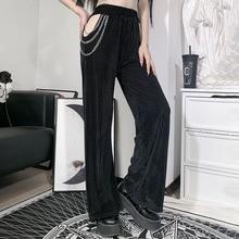 New Women's Wide-leg Pants Autumn Street Casual Dark Punk Gothic Style Hollow Chain Decoration High
