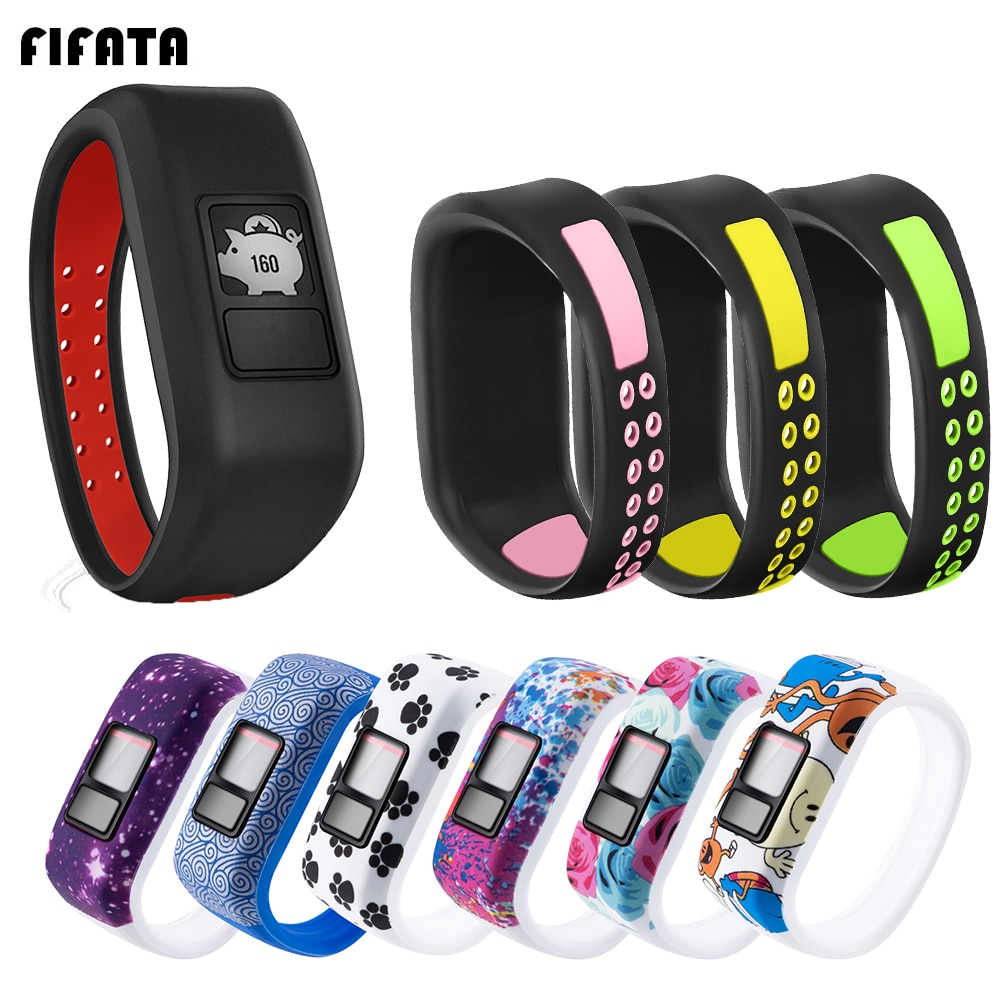 FIFATA Colorful Soft Silicone Wristband For Garmin Vivofit JR/JR2/Vivofit 3 Smart Bracelet Replace W