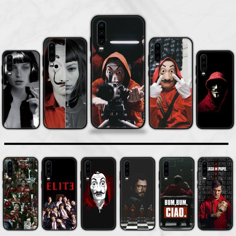 Paper House Spain TV Money Heist Black TPU Soft Rubber Phone Cover For Huawei Honor 7C 7A 8X 8A 9 10 10i Lite 20 NOVA 3i 3e