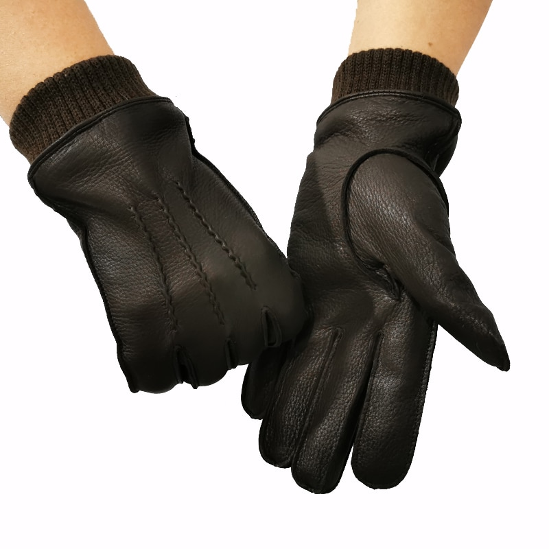 New 100% deerskin gloves mens wool lining autumn and winter warm leather elastic cuffs design high quality