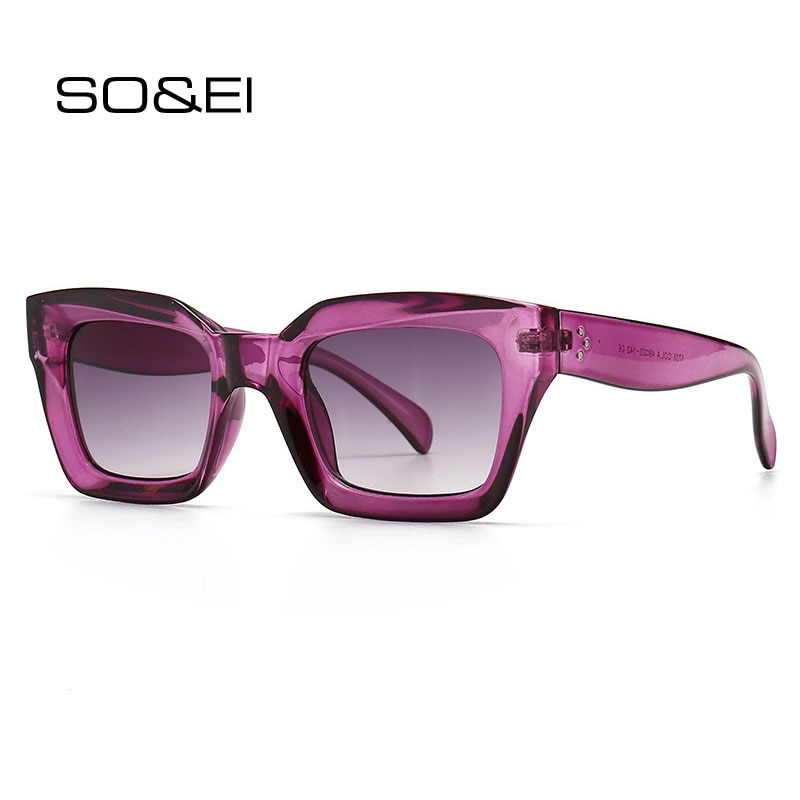 SO & EI gafas de sol de moda de ojo de gato de diseñador de marca Retro cuadrado azul púrpura gafas de sol de uñas femeninas sombras UV400 hombres