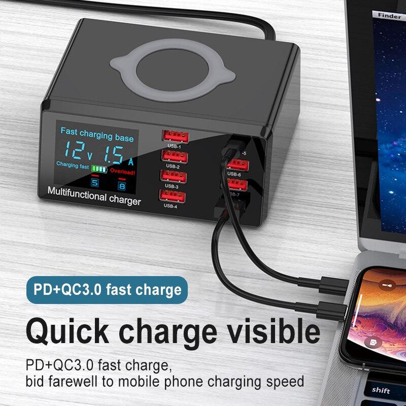 متعددة الوظائف متعددة منفذ USB شاحن سريع رقمي مع شاحن لاسلكي شاحن الهاتف المحمول الهواتف الاتصالات السلكية واللاسلكية