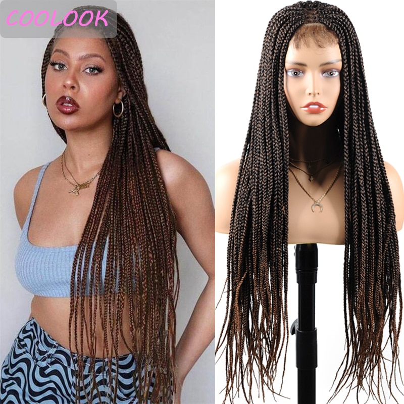 Honey Brown Box Braids Lace Front Wigs with Baby Hair 30'' Long Burgundy Box Braided Wigs for Black Women Synthetic 4x4 Lace Wig