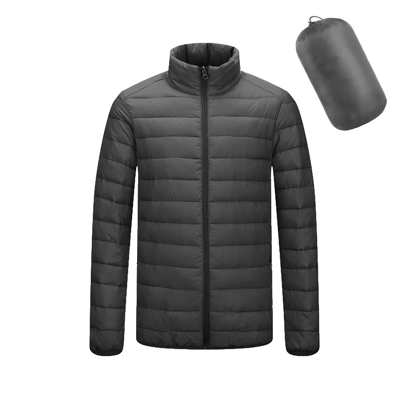 2019 Parke de invierno para hombres, ropa de abrigo Casual para hombres, chaqueta de manga larga para hombres, abrigo de algodón con cremallera de negocios y cuello alto para hombres