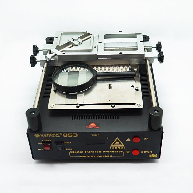 GORDAK 853 درجة حرارة ثابتة التسخين محطات كيت مع 90 مللي متر Reballing الرقصة فضي 4 قطعة بغا الإستنسل PS4 المكبرة الزجاج