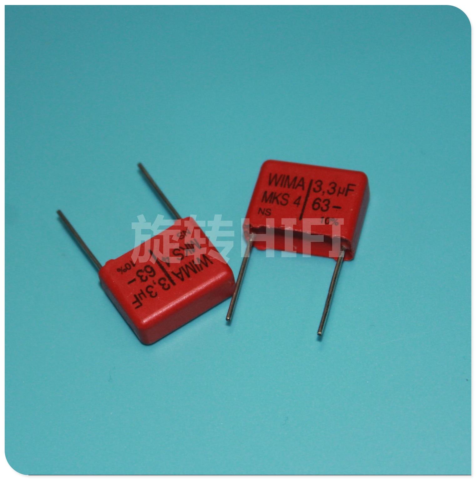 10 Uds rojo WIMA MKS4 3,3 UF 63V PCM15 original nuevo MKS-4/335/63 V P15mm audio 335 gran oferta 3,3 uf/63 v 3u3 63vdc 3300nF