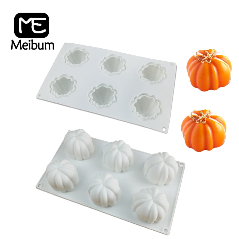 Meibum 6 Cavity Pumpkin Shape Muffin Tray Cake Decorating Molds Chocolate Mousse Dessert Mould Silicone Cake Mold Baking Tools