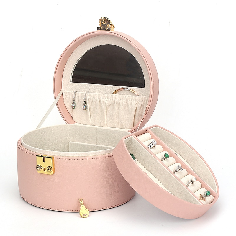 New Exquisite Portable Pu Leather Jewelry Boxes With Lock Multifunctional Double-layer Ring Necklace Earrings Watch Storage Box