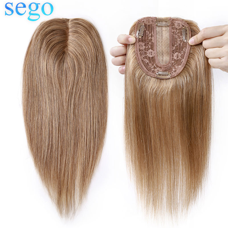 SEGO 10x12cm Silk Base Machine Remy Hair Toppers Human hair Toupee For Women Natural Hairpiece Clip In Hair Extensions 6 colors