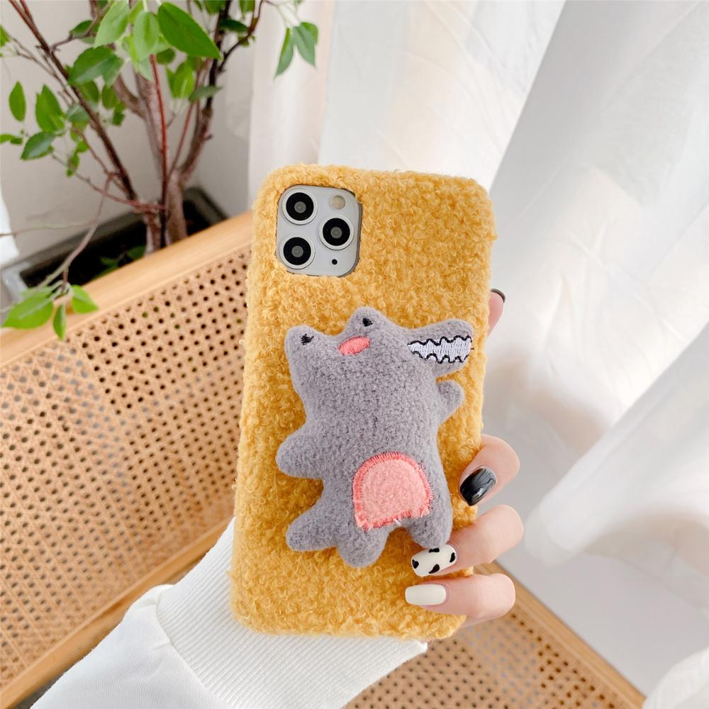3D Cute Crocodile Plush Case For iPhone 11 Pro Max X XR XS Max 7 8 plus SE 2020 Cover Capa Fashion Warm Fluffy Phone Cases enlarge