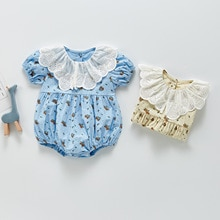 Yg Brand children's clothing 2021 summer floral Jumpsuit girls' harlottie baby foreign style lace La
