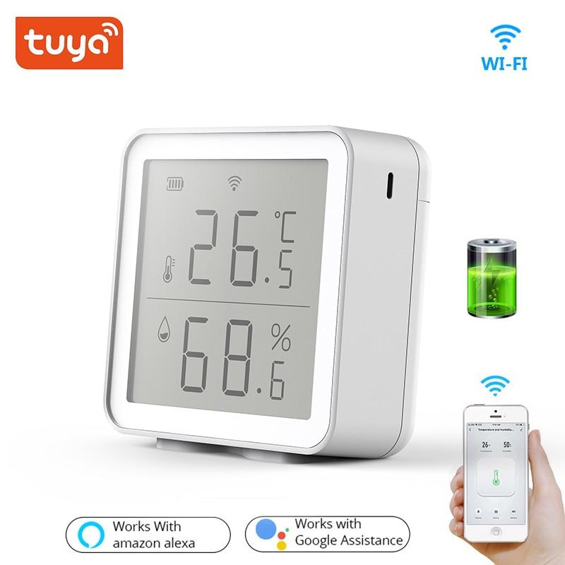 مستشعر ذكي لدرجة الحرارة والرطوبة ، واي فاي ، للمنزل المتصل Tuya ، بدون بوابة ، يعمل مع Alexa ، Google ، إنذار الأمان