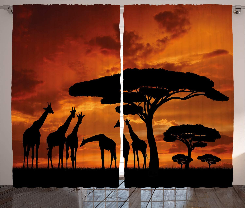 África janela cortinas safari animal com girafa tripulação com majestoso árvore no nascer do sol no quênia sala de estar decoração quarto laranja