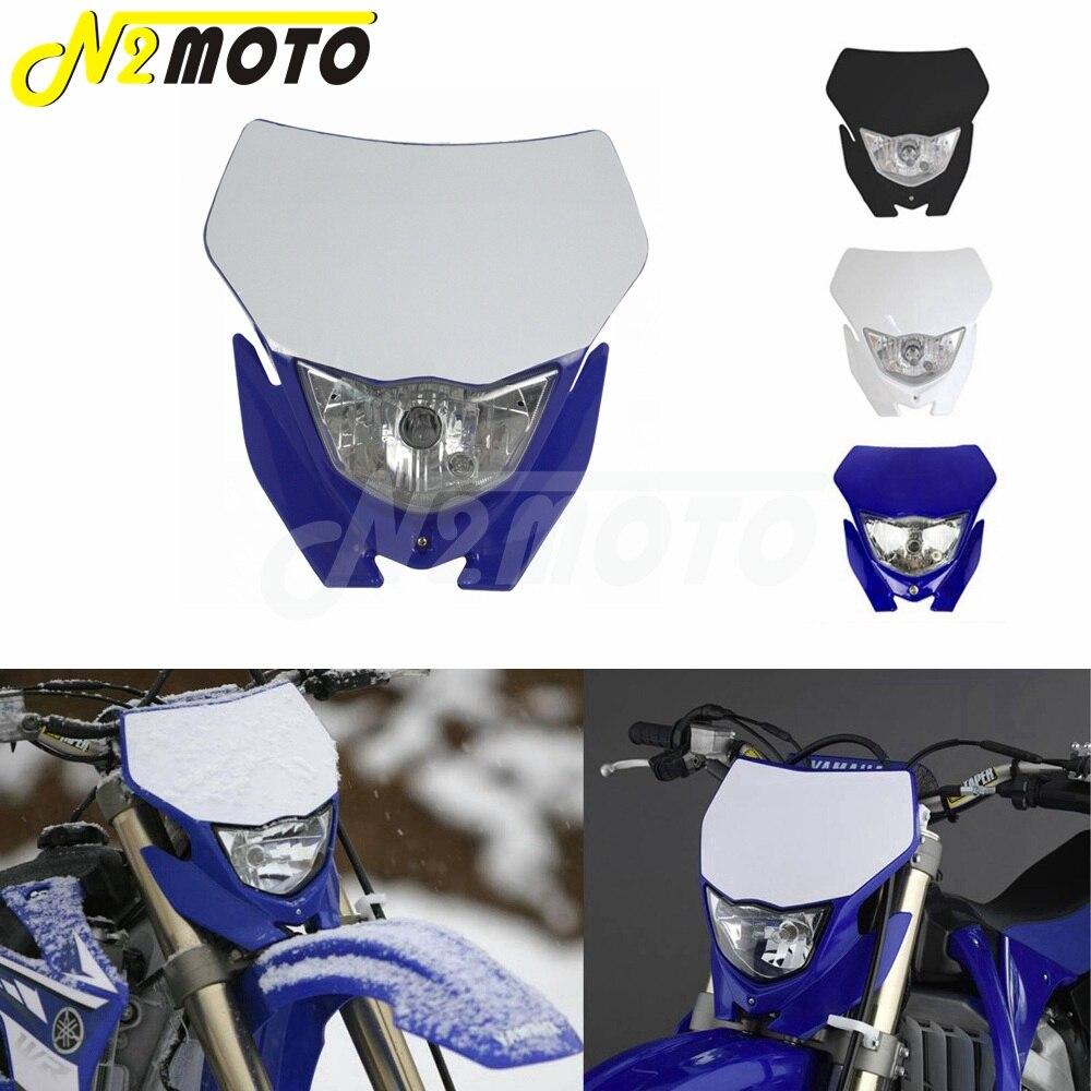 Faro de motocrós blanco H4 12V 35W Dual Sport Kit para Yamaha WRF250/400/426/450 YZ TTR WR XT MX Enduro bicicleta luz de la cabeza