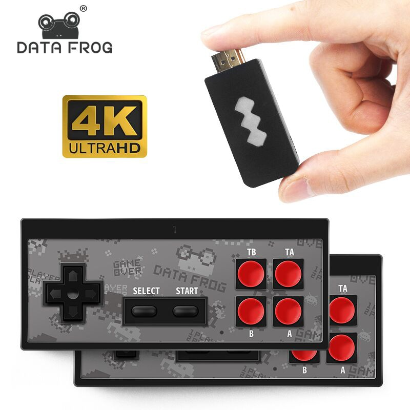 DATA FROG 4K HD Video Game Console Built in 1700 Classic Games Mini Retro Game Console Wireless Controller TV Output Dual Player