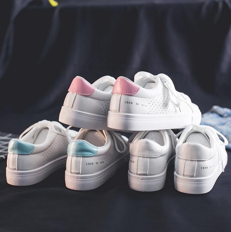 HOT Women Sneakers 2021 Fashion Breathble Vulcanized Shoes Women Pu leather Platform Shoes Women Lace up Casual White Shoes