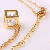 korean fashion clavicle necklace for girl hollow cube crystal pendant necklace female zircon jewelry metal chain accessories