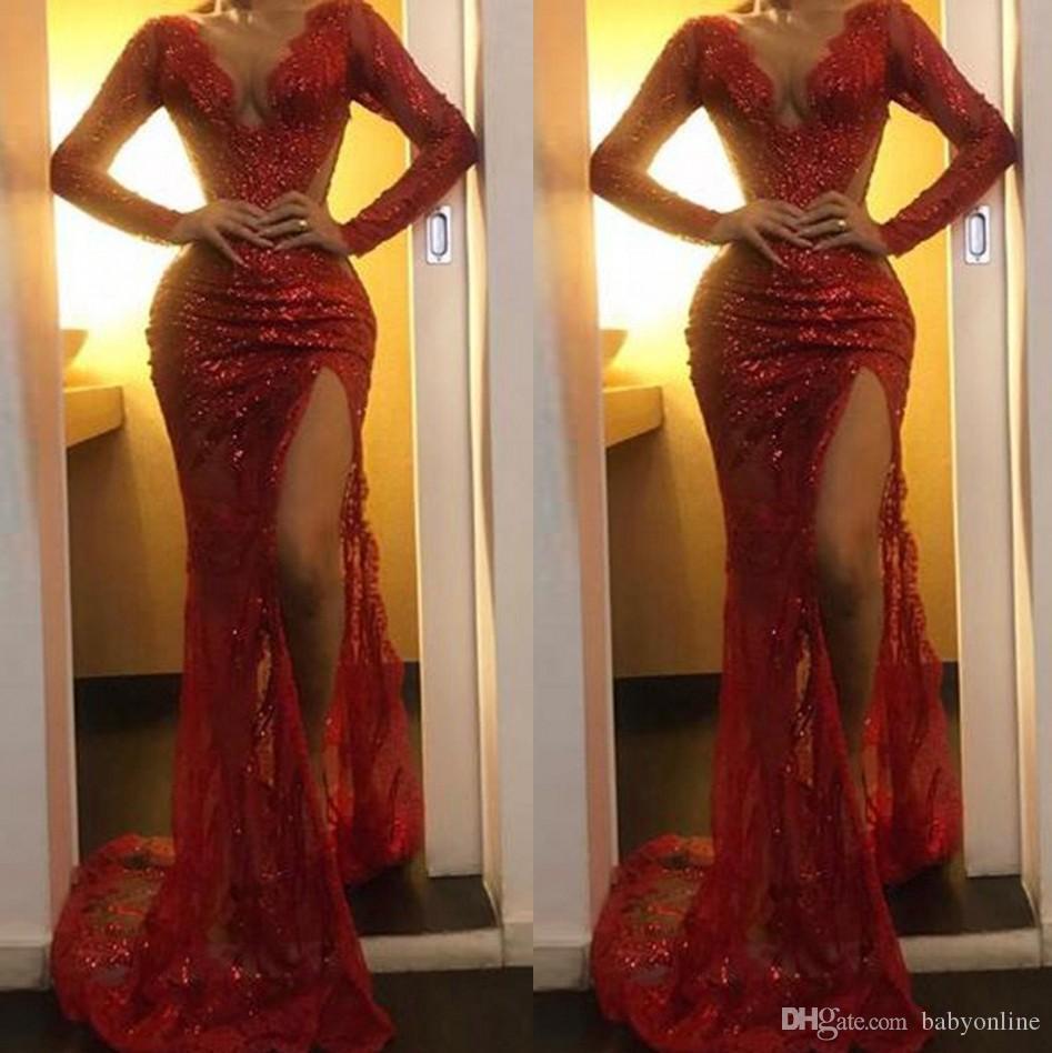 Vestido de noche con abertura de lentejuelas rojas con escote en V de sirena para mujer vestidos de fiesta de ocasión con escarpado modest de manga larga tren de barrido