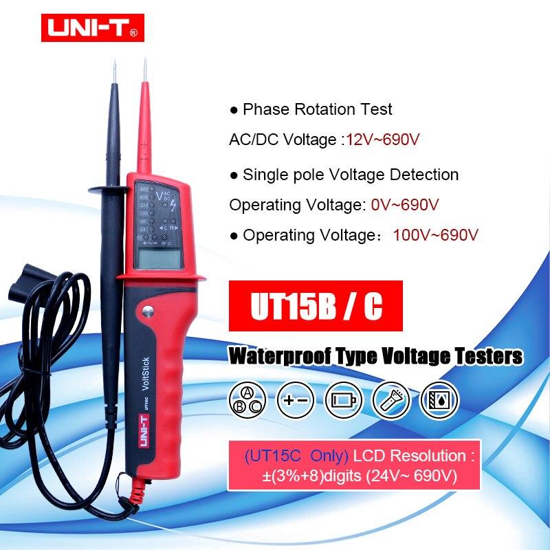 UNI-T UT15B/UT15C للماء متعددة وظيفة الجهد كشف فولت اختبار القلم AC DC الفولتميتر الصافرة و LED ضوء مؤشر