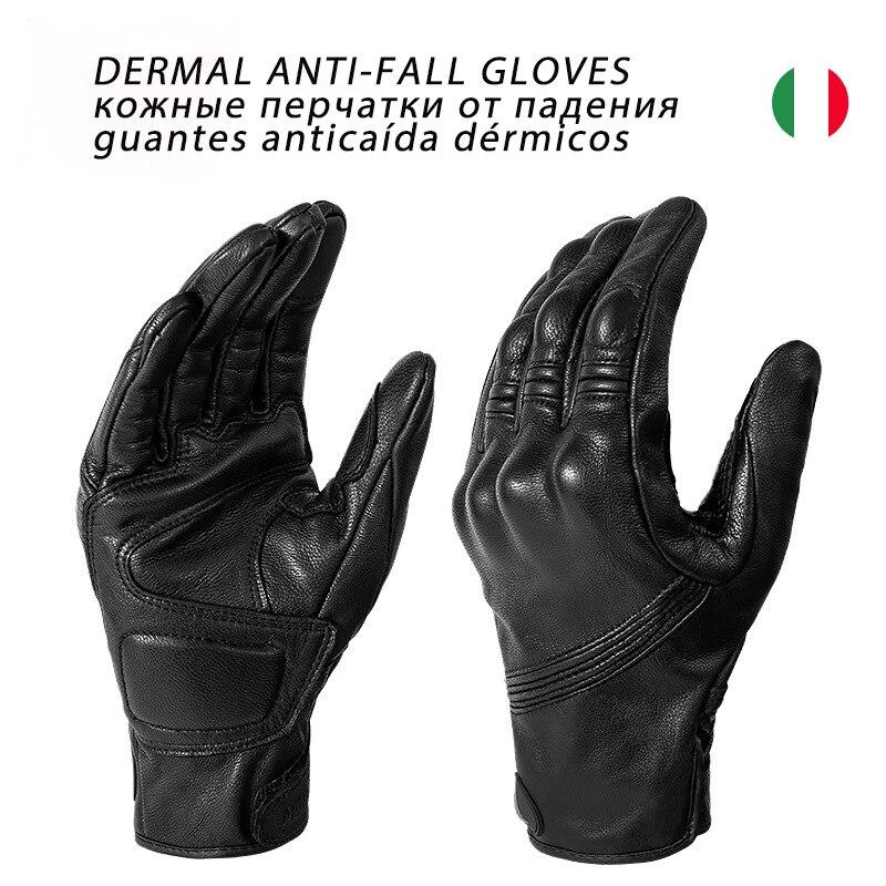Guantes de cuero genuino para motocicleta, guantes de moto de calle transpirables con pantalla táctil, guantes de moto de cuatro estaciones a prueba de viento ADV, guantes de motocross