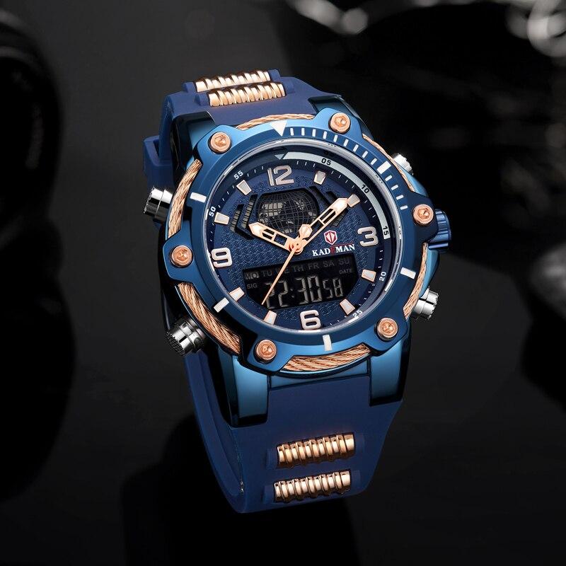 KADEMAN Fashion Mens Watch Casual Male Wrist Watches Blue Rubber Alarm Week Dual Display Waterproof Erkek Kol Saati  - buy with discount