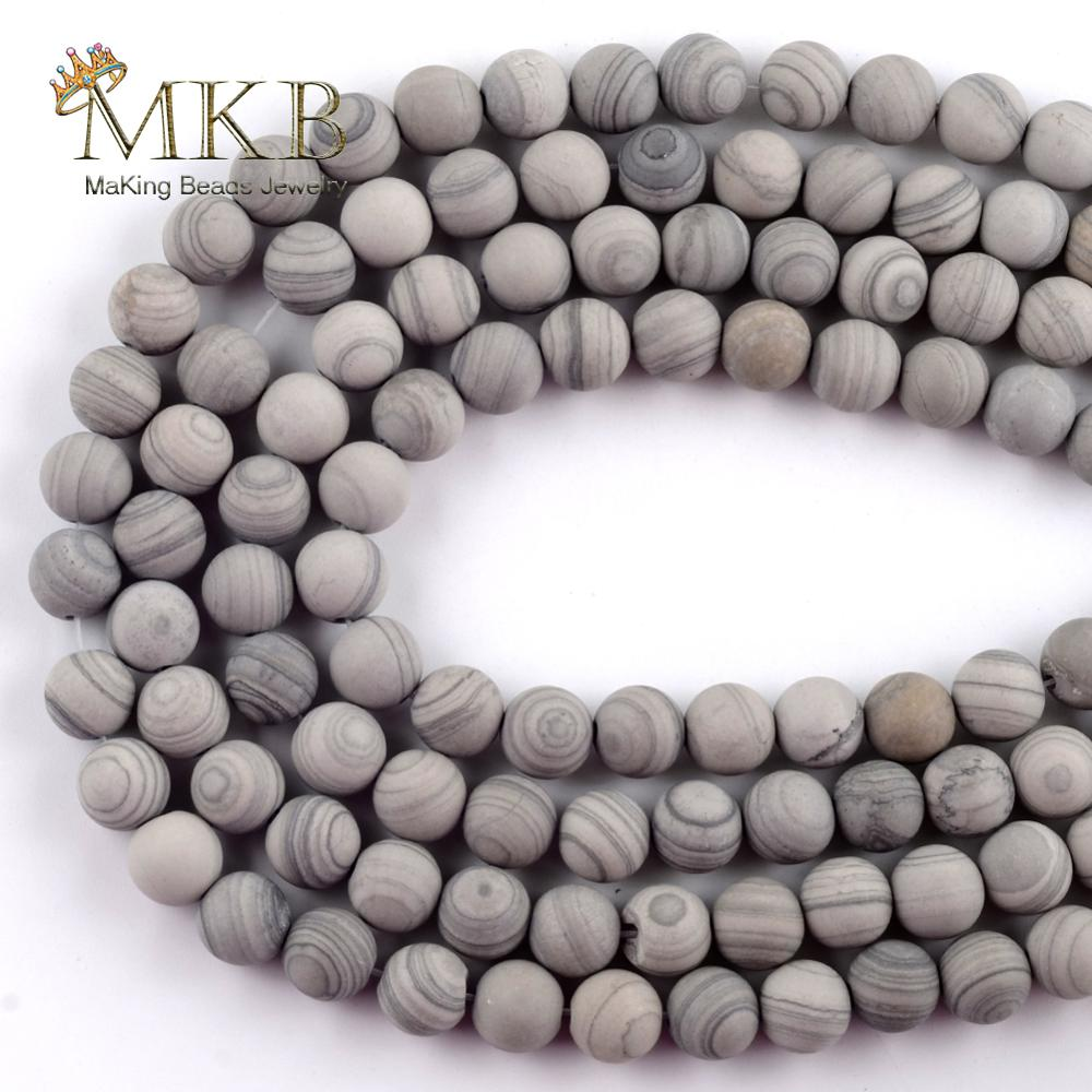 Natural Dull Polish Matter Grey Line Stone Round Beads For Jewelry Making Spacer Loose Beads 6/8/10m