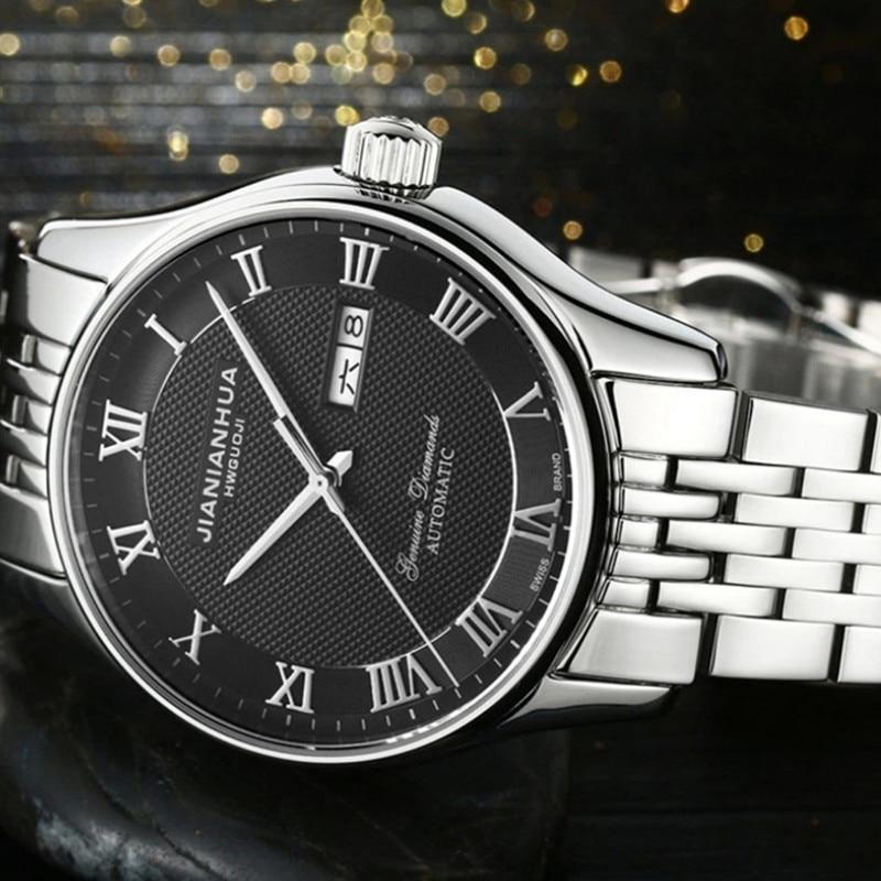 Elegante reloj de pulsera con calendario automático de números romanos Vintage de declaración reloj de pulsera a prueba de agua de estilo inglés para hombres