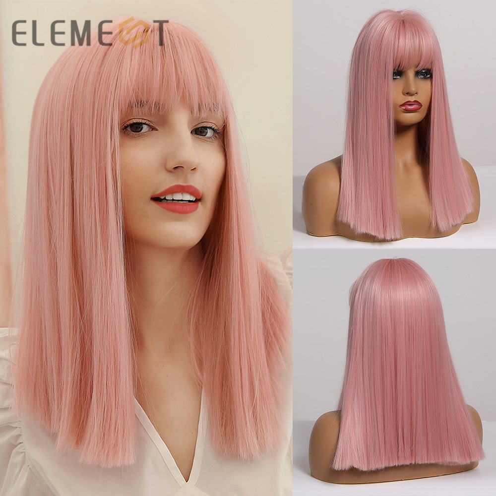 Element Long Synthetic Blunt Cut Pink Hair Wigs with Bangs for Womens Silky Straight Cosplay Party Lolita Girls Fake Hair Wig