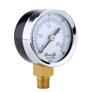 0-30PSI Air Compressor Gauge 2 Inch Face Side Mount 1/8 Inch NPT Hydraulic Air Pressure Compressed Gauge Tester Measurer