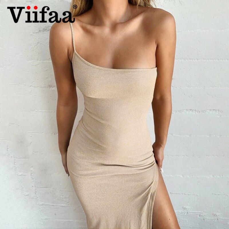 Viifaa, vestido de punto de color albaricoque con un hombro, vestido de fiesta con abertura lateral, vestido de mujer trajes de Club tirantes finos Bodycon, vestidos Maxi de verano