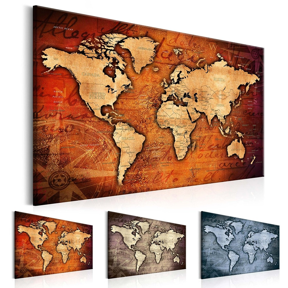 1 painel hd impresso pintura em tela mapa do mundo casa decoração da parede fotos para sala de estar arte da parede na lona (sem moldura)