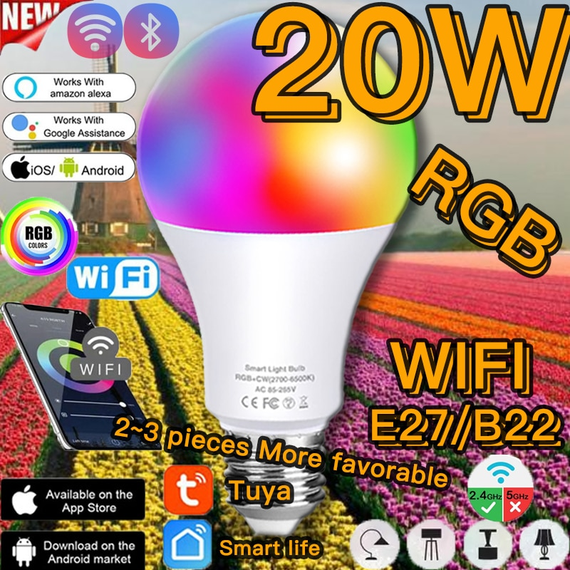 new e27 rgbw led lamp wifi smart light bulb 7w dimmable multicolor wake up lights compatible with alexa and google assistant Dimmable 20W B22 E27 WiFi Smart Light Bulb LED Lamp App Operate Alexa Google Assistant Control Wake up Smart Lamp Night Light