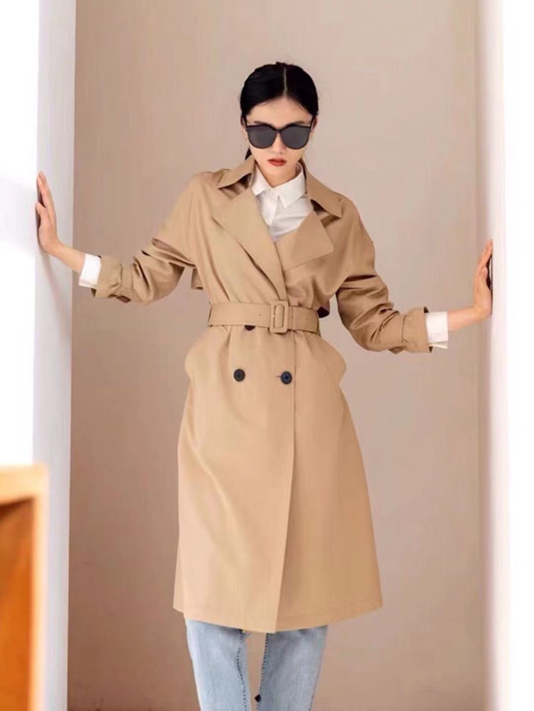 Осень-зима 2021 Новинка шерстяное шелковое пальто IC Xiaohe с открытыми плечами большого размера женское двубортное средней длины