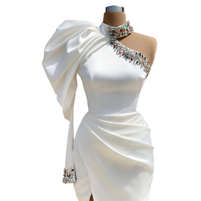 فساتين سهرة رسمية مخصصة بكريستال من Vestidos موضة 2020 مقاس كبير باللون الأبيض المطرز في الشرق الأوسط للحفلات الراقصة للنساء للحفلات الليلية