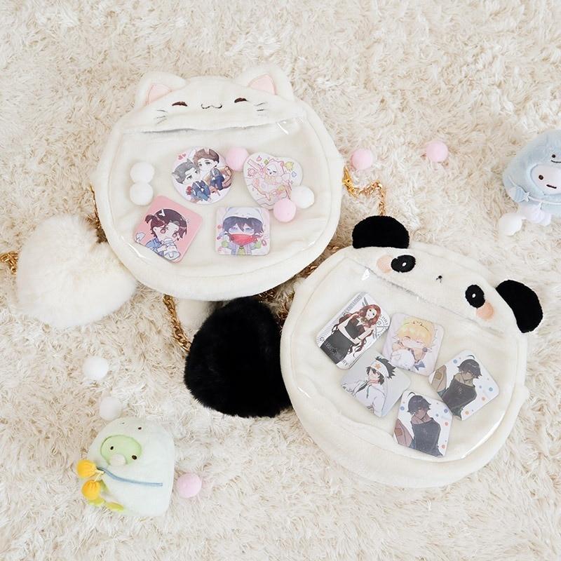 Bolso japonés Kawaii Lolita de dibujos animados de gato conejo Panda de felpa bolso Ita de hombro transparente para chicas bolso de mano bolso de mensajero lindo Cosplay