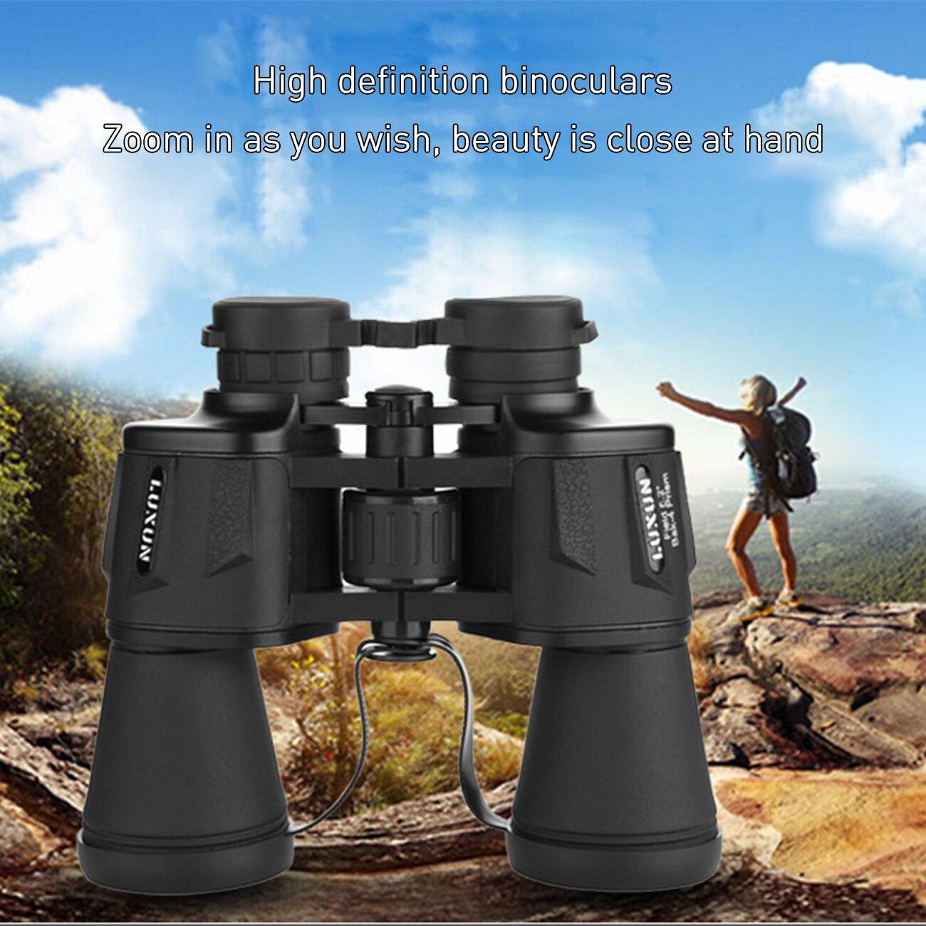 1 pçs 20x50 alta ampliação zoom porro binocular hd anti-nevoeiro poderoso telescópio óptico grande angular para a caça ao ar livre