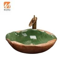 primitive style handmade irregular ceramic wash basin leaf like countertop bathroom sink