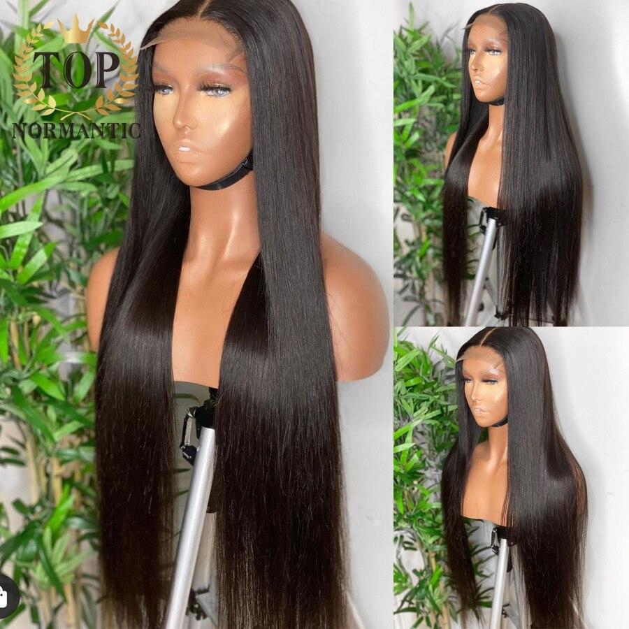 Topnormantic 250% كثافة اللون الطبيعي شعر مستعار (باروكات) بقصة شعر مفرود للنساء 34 بوصة البرازيلي ريمي الإنسان الشعر الدانتيل شعر مستعار أمامي Preplucked