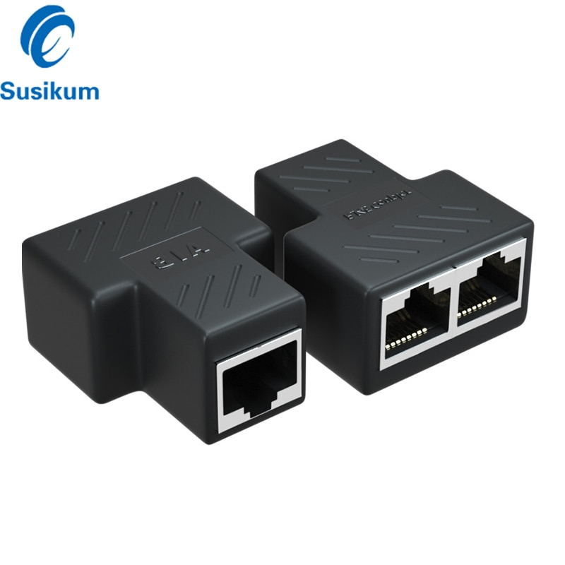 2 Pieces Ethernet Female Splitter Adapter Connector 1 To 2 Cat5 RJ45 Splitter Coupler For CCTV IP Camera System poe camera simplified wiring connector splitter 2 in 1 network cabling connector three way rj45 head security camera install