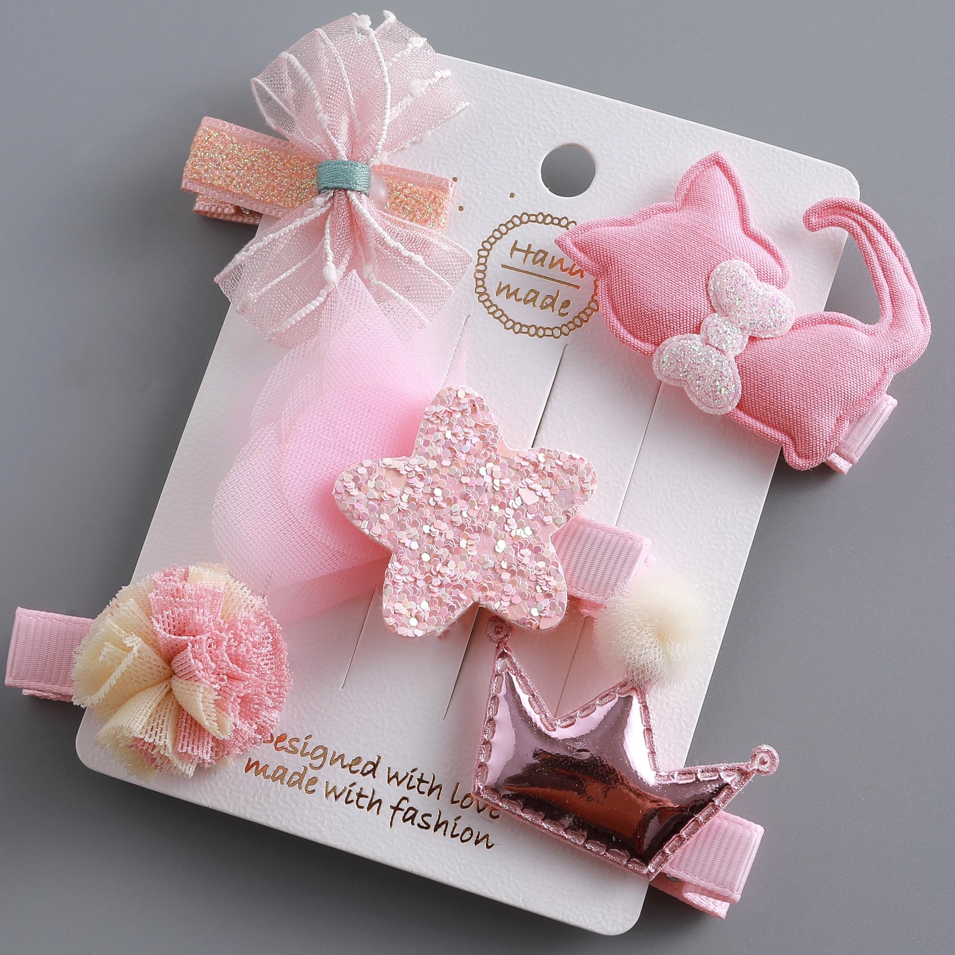 Accessoires de cheveux pour filles 5/6 pièces/ensemble   Pince à pompon animal, couronne fleur, Barrettes pour enfants, coiffure