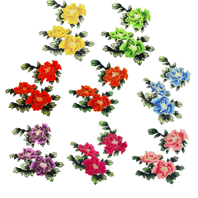 1Pair Sew On Patches Multicolor Peony Flower Embroidery Patch Appliques Badge Stickers Clothes Chinese Style Accessories
