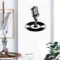 cool microphone wall sticker music wall decal home decor for boys bedroom music room vinyl art mural revocable dw7380