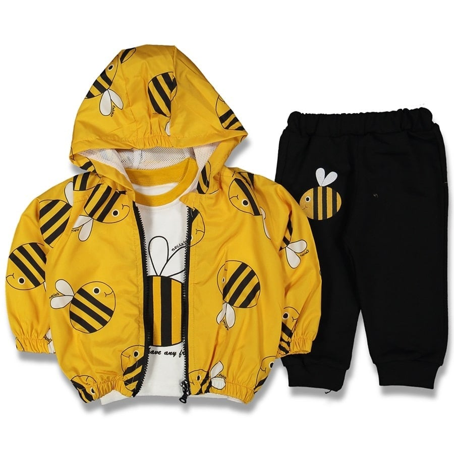 Yellow Hooded 3'lü Male Baby Raincoat Suit