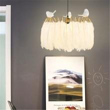 Ins caliente creativo pluma de avestruz luces colgantes romántico pájaro pluma chica habitación restaurante modelo habitación dormitorio accesorios de luz