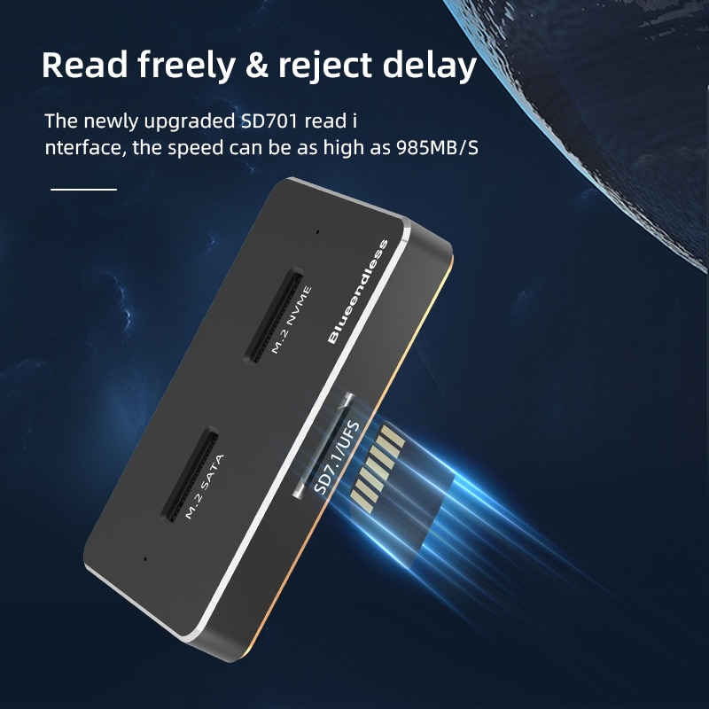 Dual Bay Dual Protocol M2 SSD Drive Case NVME NGFF SSD Hard Drive Enclosure ForMKey&B+MKeySSD External Docking Station Hd enlarge