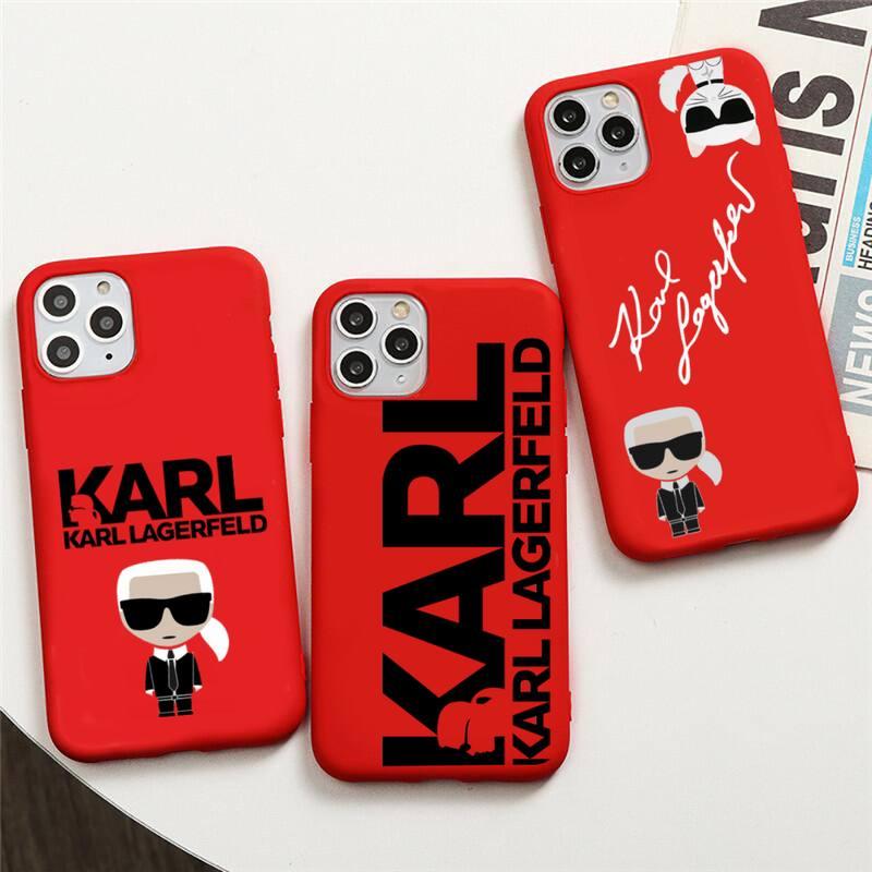 Lagerfeld marca de luxo designer karls caso telefone para iphone 12 11 pro max mini xs 8 7 6s plus x se 2020 xr vermelho capa