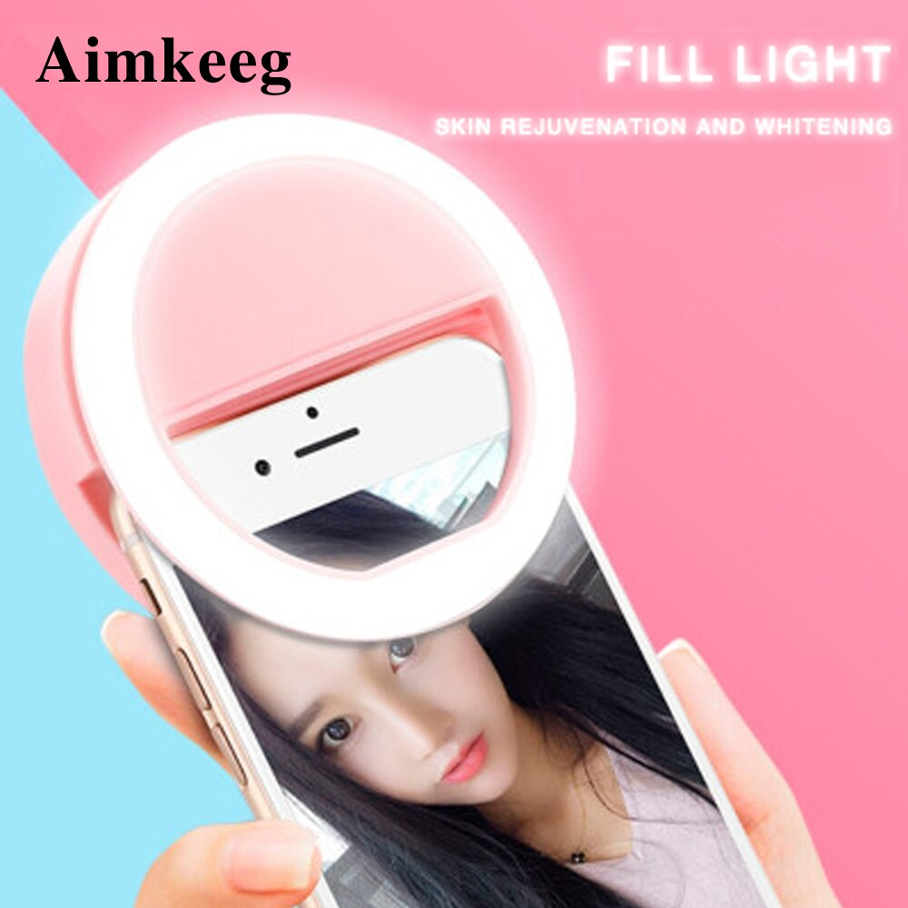 Novelty Led Fill Light Ring Selfie Lamp for Phone Camera Portable ClipOn Lamps Women Girl Night Darkness Beauty Enhancing Lights