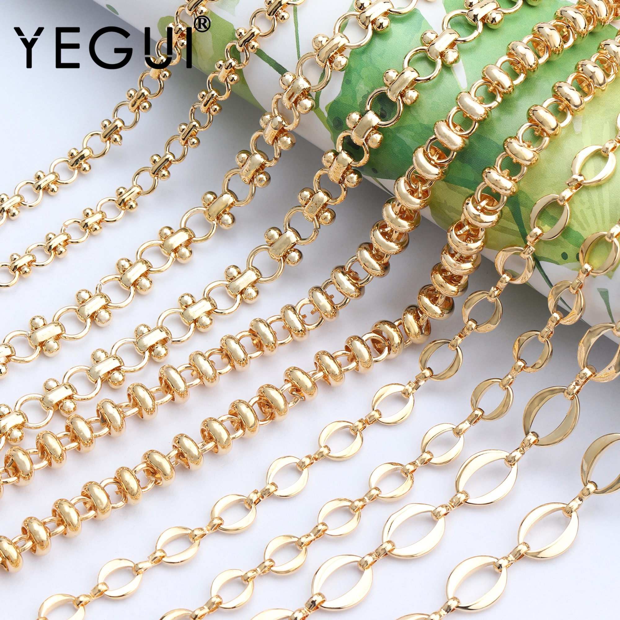 YEGUI C77,diy chain,18k gold plated,0.3 microns,jewelry accessories,copper metal,charms,jewelry making,diy chain necklace,1m/lot