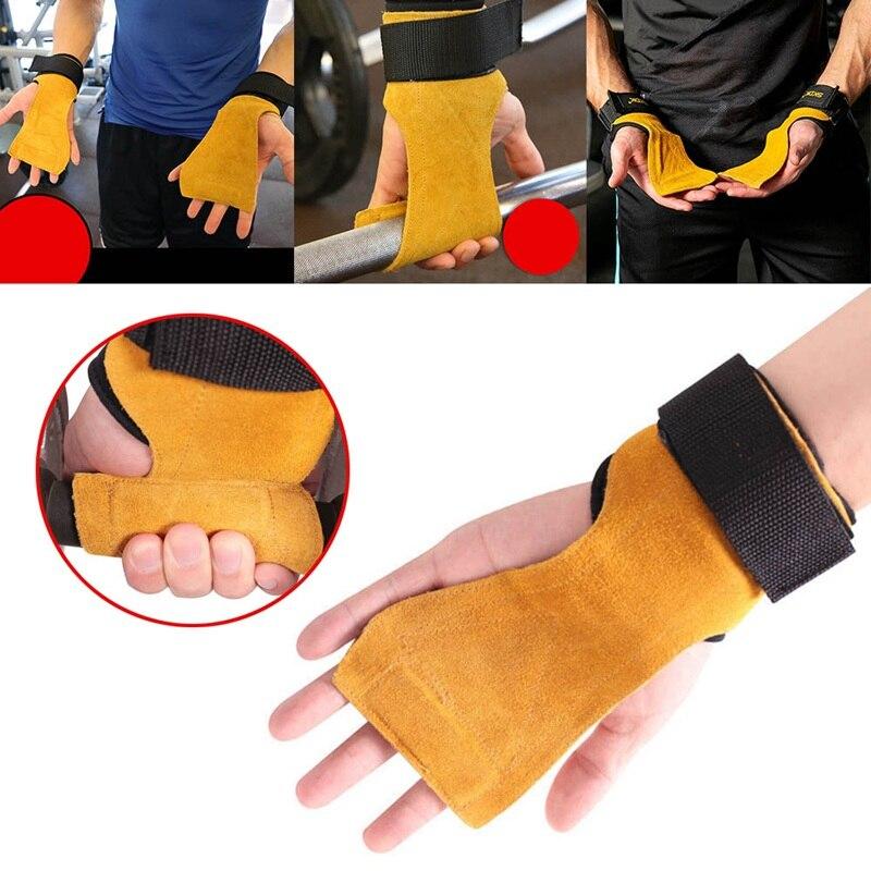1 stück Rindsleder Hand Griffe Gymnastik Handschuhe Griffe Anti-Skid Gym Fitness Handschuhe Gewichtheben Grip Gym Crossfit Trainining