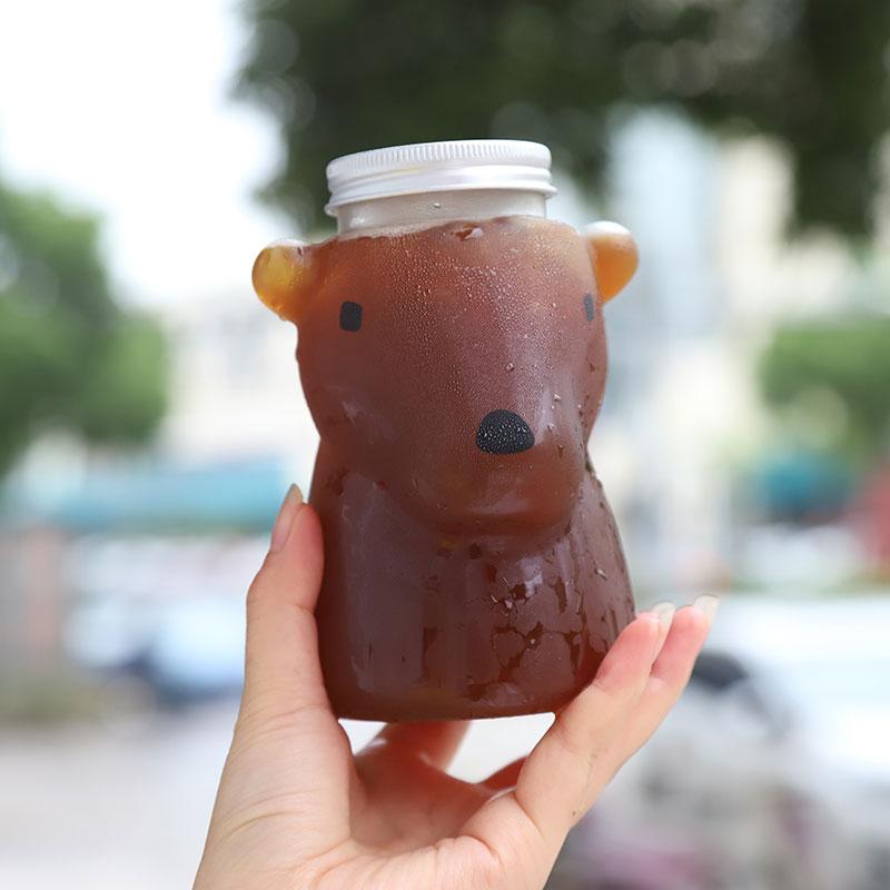 10 قطعة الإبداعية عيار كبير 500 مللي PET البلاستيك واضح مشروب بارد زجاجة شاي الحليب حفلة الجليد القهوة عصير التعبئة والتغليف أكواب مع أغطية
